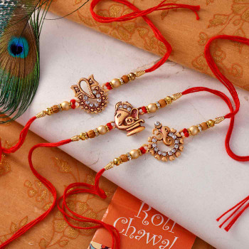 Set of 3 Golden Ganesha Rakhis - For India