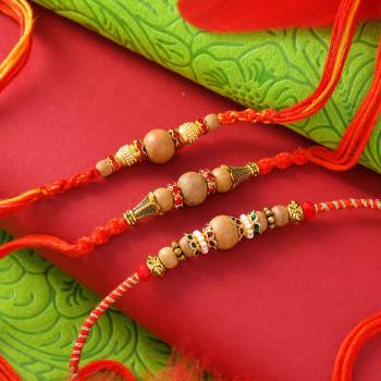 Set of 3 Sandalwood Bead Rakhis