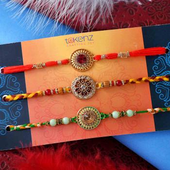 Set of 3 Designer Multi-Coloured Rakhis - For India