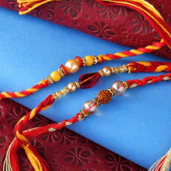 Set of 3 Rudraksha Bead Rakhis