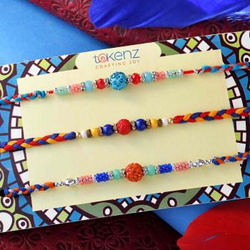 Set of 3 Multicoloured Beads Rakhis