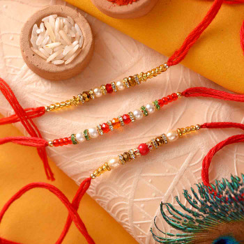 Set of 3 Beautiful Bead and Stone work Rakhis