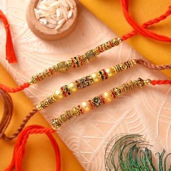 Set of 3 Metallic Finish Beads Rakhis