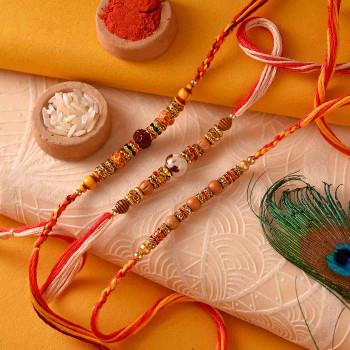 Set of 3 Wooden Bead and Stone Rakhis
