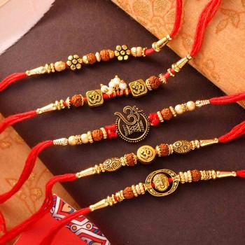 Set of 5 Om & Rudraksh Traditional Rakhis