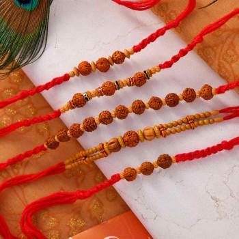 Set of 5 Traditional Rudraksh  Rakhis