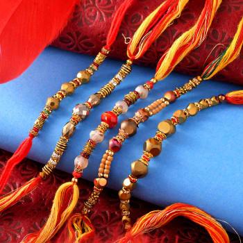 Set of 5 Shining Beads Rakhis