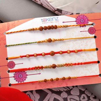 Set of 5 Traditional Beads Rakhis