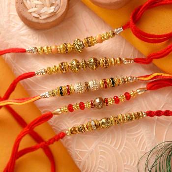 Set of 5 Ethnic Designer Metallic Finish Rakhis