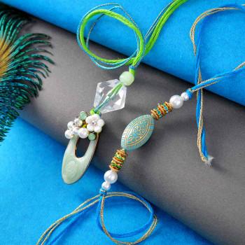 Elegant Pair Of Bhaiya Bhabhi Rakhi - For India