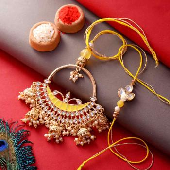 Elegant Chandbali Pattern Bhaiya Bhabhi Rakhi - For India