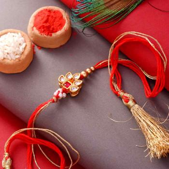 Rich Kundan & Beads Bhaiya Bhabhi Rakhi - For India