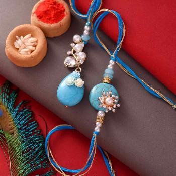 Blue Stones & Pearls Bhaiya Bhabhi Rakhi - For India
