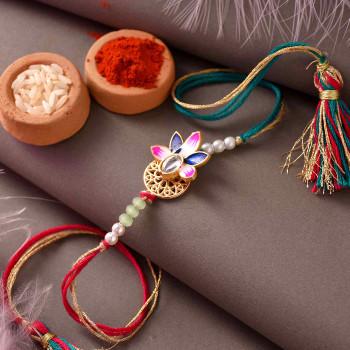 Meenakari Enamelled Peacock Bhaiya Bhabhi Rakhi -For India