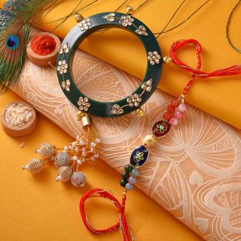 Beautiful Kundan, Pearls & Beads Bhaiya Bhabhi Rakhi