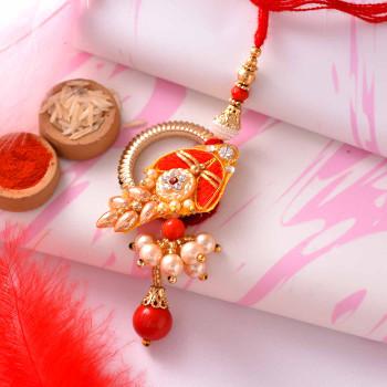 Gorgeous Pearls & Stone Work Bhaiya Bhabhi Rakhi