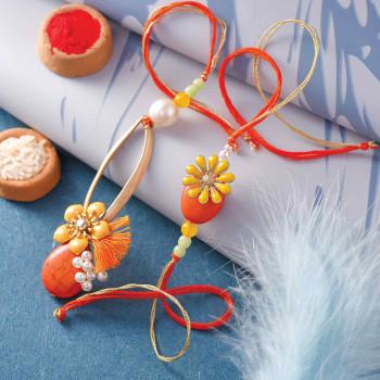 Dainty Orange Set of Stone & Pearls Bhaiya Bhabhi Rakhi