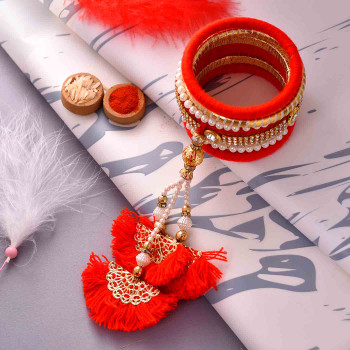 Fancy Bangle Pearls & Kundan Work Rakhi