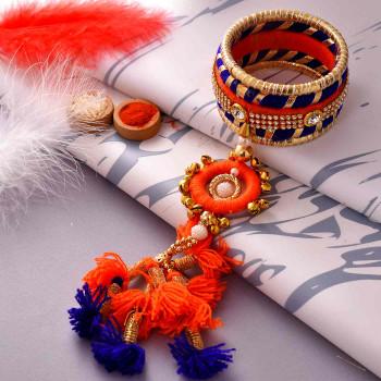 Attractive Gota, Kundan & Ghungroos Rakhi