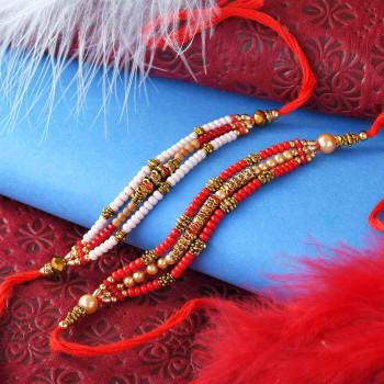 Pearls & Beads Set of Two Rakhis