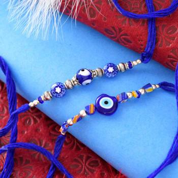 Evil Eye Beads Set Of Two Rakhis - For India