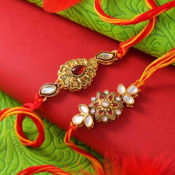 Metallic Finish Set of 2 Fancy Rakhi - For India