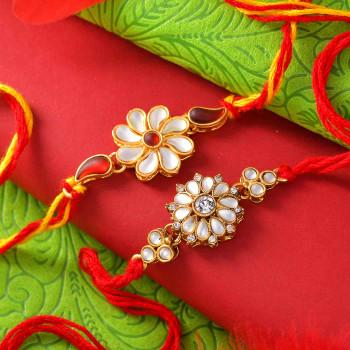 White Flower Pearl Set of 2 Rakhis - For India