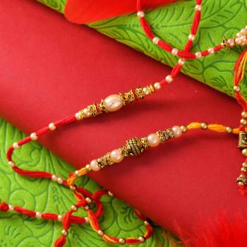 Pearl Designer Set of 2 Rakhis - For India