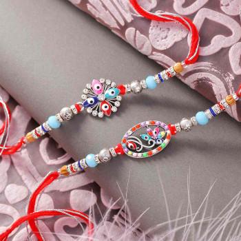 Floral Evil Eye Design Set of 2 Rakhis - For India
