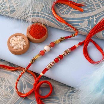 Pretty Red Beads Set of 2 Rakhis with Pooja Thali