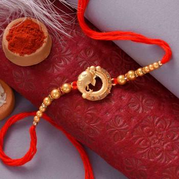Divine Ganesha Rakhi with Pooja Thali - For India