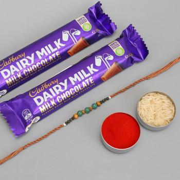 Single Bead Rakhi with Cadbury Dairy Milk