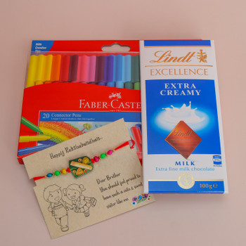 Cute Kids Rakhi with Colours and Lindt Chocolate