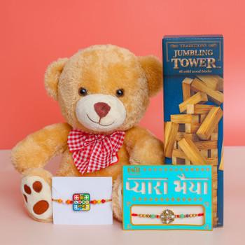 Beautiful Kundan & Kids Ludo Set of 2 Rakhis With Teddy & Toy