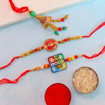 Elegant Beads Bhaiya Bhabhi & Kids Set Of 3 Rakhis