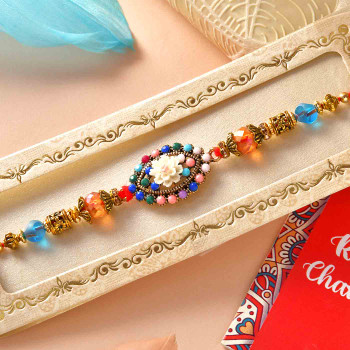 Multicolour Beads Rakhi With Gems & Mint Chocolate Bar & Coffee Biscuits