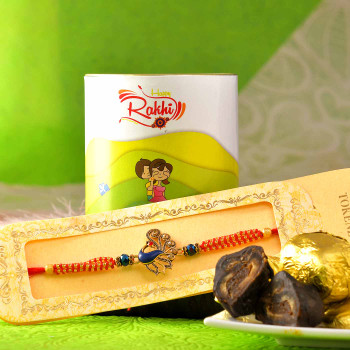 Peacock Rakhi With Chocolate Paan Dates