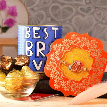 Shree Krishna Rakhi With Chocolate Dipped Khajoor Ladoo