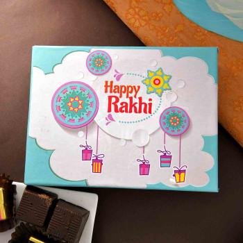 Bro Rakhi With Gems, Mint Chocolate Bar & Cranberry Biscotti
