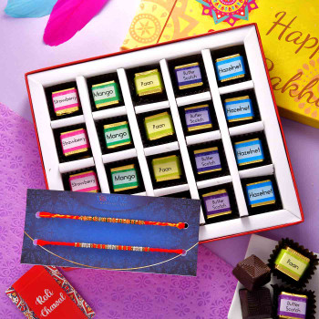 Beautiful Crystal Stones Set of 2 Rakhis With Handmade Assorted Flavoured Chocolates