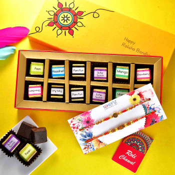 Metallic Finish Set of 2 Rakhis With Handmade Assorted Flavoured Chocolates