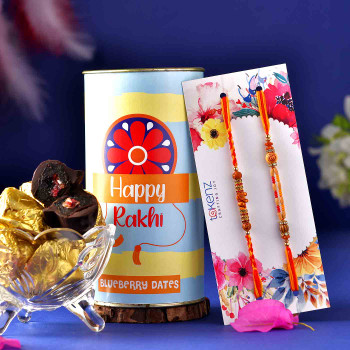 Set of 2 Om Rakhis With Choco Dipped Blueberry Dates