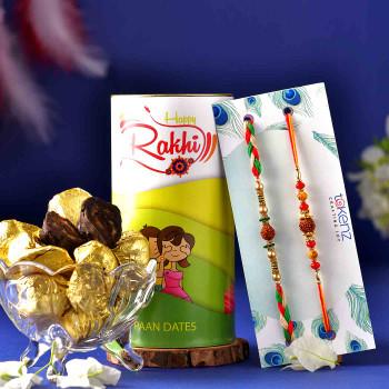 Rudraksh Set of 2 Rakhis With Chocolate Paan Dates - For India
