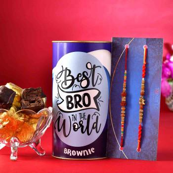 Set of 2 Designer Rudraksh Rakhis With Handmade Choco Brownie - For India