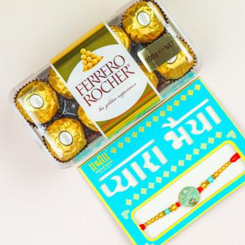 Radhe Radhe Rakhi With Ferrero Rocher -For New Zealand