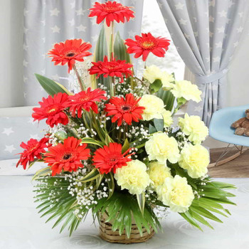 Arrangement of Yellow Carnations with Red Gerberas