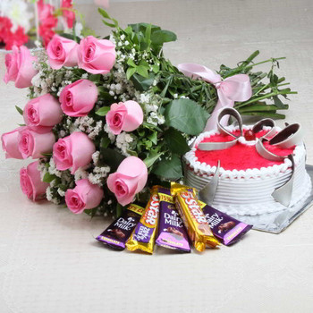 Strawberry Cake with Assorted Chocolates and Roses Bouquet