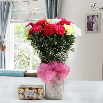 Vase of Two Dozen of Mix Carnation and Ferrero Rocher Chocolate Box
