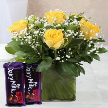 Cadbury Dairymilk Fruit n Nut Chocolate with Yellow Roses in Vase