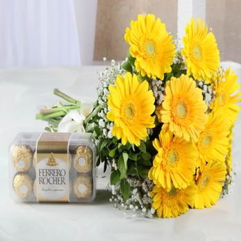 Ten Yellow Gerberas with Ferrero Rocher Chocolate Box